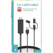 3 in 1 HDMI cable[Lightning + Micro USB + USB-C] 1m80
